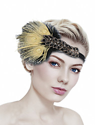 cheap -Retro Traditional / Classic Stretch Stripes / Fabrics Headpiece with Feather / Crystals / Ribbons 1 / box Wedding / Carnival Headpiece