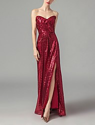 cheap -A-Line Wedding Dresses Sweetheart Neckline Floor Length Sequined Strapless Romantic Sparkle & Shine Plus Size Red with Split Front 2020