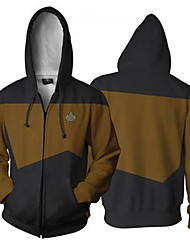 cheap -Star Trek Cosplay Cosplay Costume Hoodie Polyster Color Block Hoodie For Men's / Women's