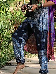 cheap -Women's Dancer Yoga Meditation Masquerade Boho Exotic Dancewear Polyster Purple Red Navy Blue Pants