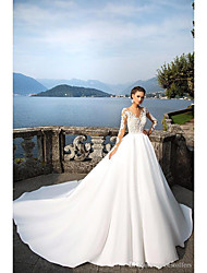 cheap -A-Line V Neck Court Train Lace Long Sleeve Casual / Beach Illusion Sleeve Wedding Dresses with 2020