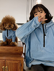 cheap -Dog Cat Costume Hoodie Matching Outfits Winter Dog Clothes Warm Red Blue Costume Husky Labrador Alaskan Malamute Fleece Solid Colored Simple Style Casual / Sporty Women M M L XL XXL XXXL