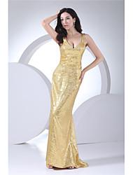 cheap -Mermaid / Trumpet V Neck Floor Length Sequined Elegant Formal Evening Dress with Sequin 2020