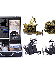 cheap -Professional Tattoo Kit Tattoo Machine - 4 pcs Tattoo Machines, High Speed / Dynamics Adjustable / Universal Alloy / Carbon Steel # 1 cast iron machine liner & shader / 2 steel machine liner & shader
