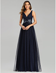 cheap -A-Line V Neck Floor Length Tulle Empire / Blue Prom / Formal Evening Dress with Sequin / Appliques 2020