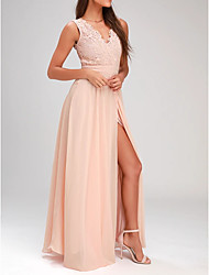 cheap -A-Line Empire Pink Wedding Guest Prom Dress V Neck Sleeveless Floor Length Polyester with Pleats Split Appliques 2020