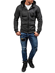 cheap -Men's Daily Basic Fall & Winter Regular Trench Coat, Solid Colored Hooded Long Sleeve Polyester Dark Gray / Light gray