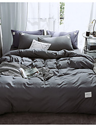 cheap -Duvet Cover Sets 4 Piece Linen / Cotton Solid Colored Red Printed Simple