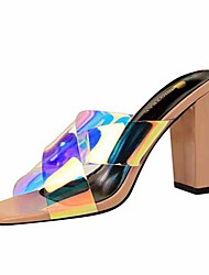 cheap -Women's Sandals Transparent Shoes Chunky Heel Open Toe PU Casual / Minimalism Spring / Summer Nude / Yellow / Red