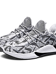 cheap -Men's Elastic Fabric Spring & Summer Casual Athletic Shoes Running Shoes Breathable Black / Black and White / White