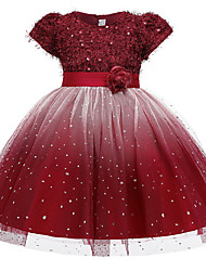 cheap -Ball Gown Ankle Length Pageant Flower Girl Dresses - Polyester Short Sleeve Jewel Neck with Beading / Appliques