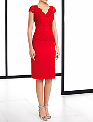 cheap -Sheath / Column V Neck Knee Length Polyester Elegant / Red Wedding Guest / Cocktail Party Dress with Appliques 2020