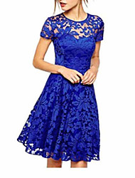 cheap -Women's Plus Size Going out Elegant A Line Dress - Floral Solid Colored Lace Black White Blue S M L XL