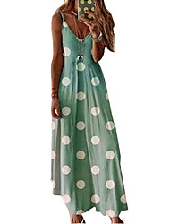 cheap -Women's Holiday Vacation Beach Maxi A Line Dress - Polka Dot Strap Spring & Summer Blushing Pink Green Gray S M L XL
