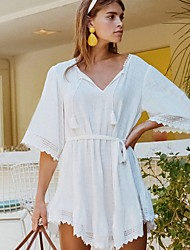 cheap -Women's A Line Dress - Solid Color White One-Size