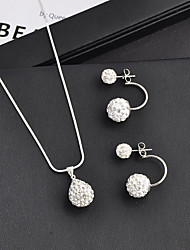 cheap -Women's White Synthetic Diamond Drop Earrings Pendant Necklace Geometrical Hope Stylish Simple Fashion Earrings Jewelry White For Gift Daily School Street Festival 1 set