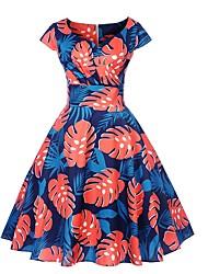 cheap -Women's Royal Blue Dress A Line Floral V Neck S M