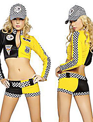 cheap -Cheerleader Hat Outfits Adults' Women's Cosplay Halloween Halloween Festival / Holiday Polyster Black Women's Carnival Costumes / Top / Shorts