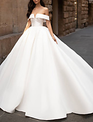 cheap -Ball Gown Wedding Dresses Off Shoulder Court Train Polyester Short Sleeve Vintage Plus Size with Draping 2020