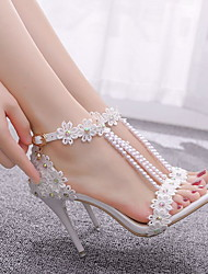 cheap -Women's Wedding Shoes Stiletto Heel Pointed Toe Wedding PU White