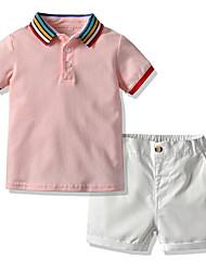 cheap -Kids Boys' Basic Color Block Short Sleeve Short Clothing Set White