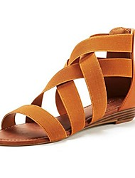 cheap -Women's Sandals Summer Low Heel Peep Toe Roman Shoes Daily PU Black / Blue / Brown