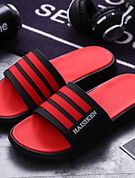 cheap -Men's PU Spring & Summer Casual Slippers & Flip-Flops Breathable Color Block Light Red / Black