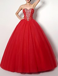 cheap -Ball Gown Strapless Floor Length Polyester Sparkle / Red Prom / Formal Evening Dress with Crystals 2020