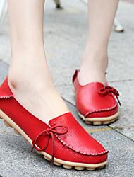 cheap -Women's Loafers & Slip-Ons Flat Heel Round Toe Cowhide / PU Sweet / Minimalism Walking Shoes Spring & Summer / Fall & Winter Black / Wine / Light Brown