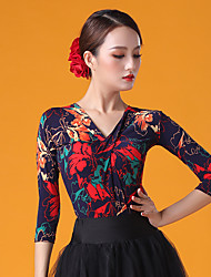 cheap -Ballroom Dance Top Pattern / Print Ruching Women's Performance 3/4 Length Sleeve Ice Silk