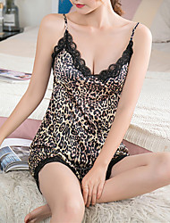 cheap -Women's Backless Suits Nightwear Leopard Black M L XL