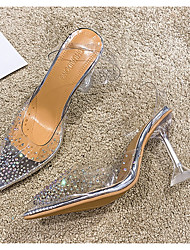 cheap -Women's Heels Transparent Shoes Stiletto Heel Pointed Toe PU Summer White / Daily / 3-4