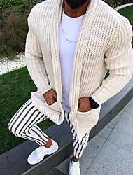 cheap -Men's Solid Colored Cardigan Long Sleeve Sweater Cardigans V Neck Black Beige