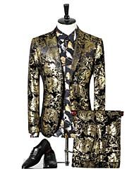 cheap -Men's Suits, Geometric Notch Lapel Polyester Gold