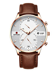 cheap -Men's Dress Watch Quartz Genuine Leather 30 m Water Resistant / Waterproof Calendar / date / day Chronograph Analog Fashion Cool - Golden / Brown Black+Gloden Blue One Year Battery Life