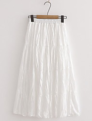 cheap -Women's Swing Skirts - Solid Colored Blushing Pink White Brown One-Size