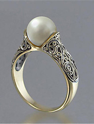 cheap -Women's Ring Pearl 1pc Gold-Red Platinum Plated Alloy Stylish Daily Jewelry Cute
