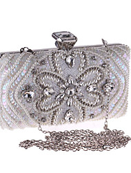 cheap -Women's Bags Polyester Evening Bag Crystals Chain Floral Print Wedding Bags Wedding Party Event / Party White Black