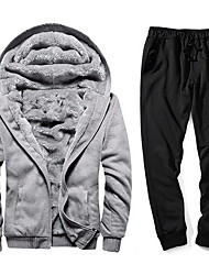 cheap -Men's Activewear Set Solid Colored Hooded Basic Black Red Gray US32 / UK32 / EU40 US34 / UK34 / EU42 US38 / UK38 / EU46 US40 / UK40 / EU48 US42 / UK42 / EU50