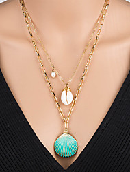 cheap -Women's Pendant Necklace Necklace Layered Necklace Stacking Stackable Shell Classic Rustic Vintage Bohemian Imitation Pearl Chrome Shell Gold 55 cm Necklace Jewelry 1pc For Street Beach Festival
