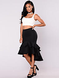 cheap -Women's Daily Wear Basic A Line Skirts - Solid Colored Black S M L