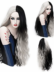 cheap -Synthetic Wig Curly Wavy Halloween Asymmetrical Wig Long Ombre White Synthetic Hair 32 inch Women's Color Gradient Best Quality White