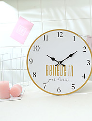 cheap -1pcs European And American 12 Inch Solid Wood Wall Clock Home Decoration