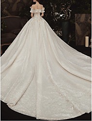 cheap -Ball Gown Off Shoulder Watteau Train Lace Cap Sleeve Formal / Romantic Wedding Dress in Color Wedding Dresses with Ruched 2020