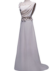 cheap -Sheath / Column Jewel Neck Floor Length Polyester Empire / White Engagement / Formal Evening Dress with Appliques 2020