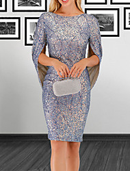 cheap -Women's Party / Evening Sheath Dress - Print Sequins Blue S M L XL
