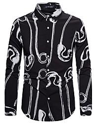 cheap -Men's Party Basic Shirt - Graphic Black & White, Print Black
