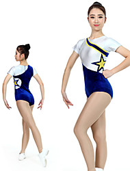 cheap -Rhythmic Gymnastics Leotards Artistic Gymnastics Leotards Women's Girls' Kids Leotard Spandex High Elasticity Handmade Short Sleeve Competition Dance Rhythmic Gymnastics Artistic Gymnastics White