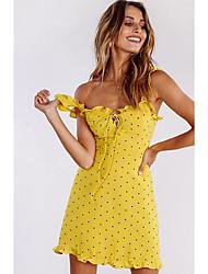 cheap -Women's Yellow Dress A Line Polka Dot Strap S M