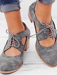 cheap -Women's Heels Chunky Heel Round Toe PU Summer Black / Yellow / Gray